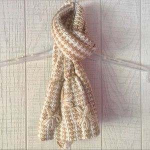 {Coldwater Creek} Tan/Cream/Gold Knit Scarf
